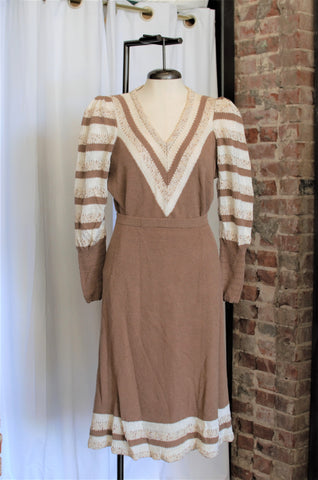 1970s Brown Sweater & Skirt Set / Large