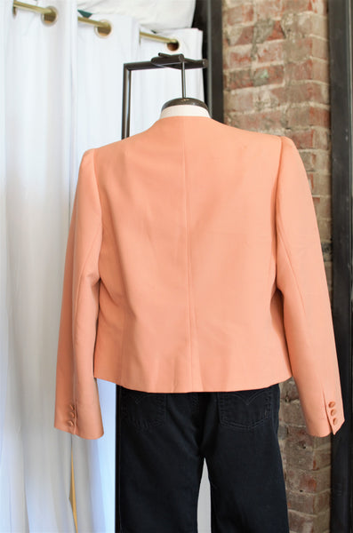 1970s Peach Suede Crop Jacket / Small