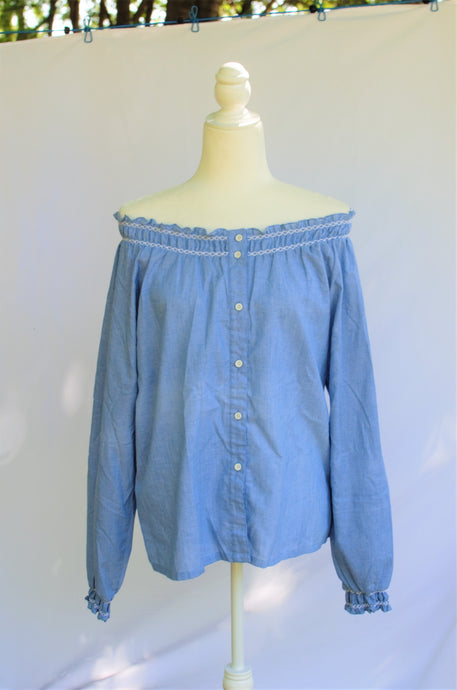 Vintage 70s Chambray Blue Shirt / S-L