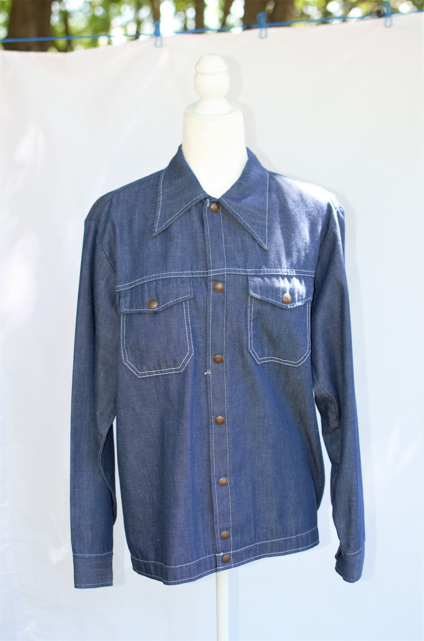 Vintage 70s Denim Work Shirt / S-L