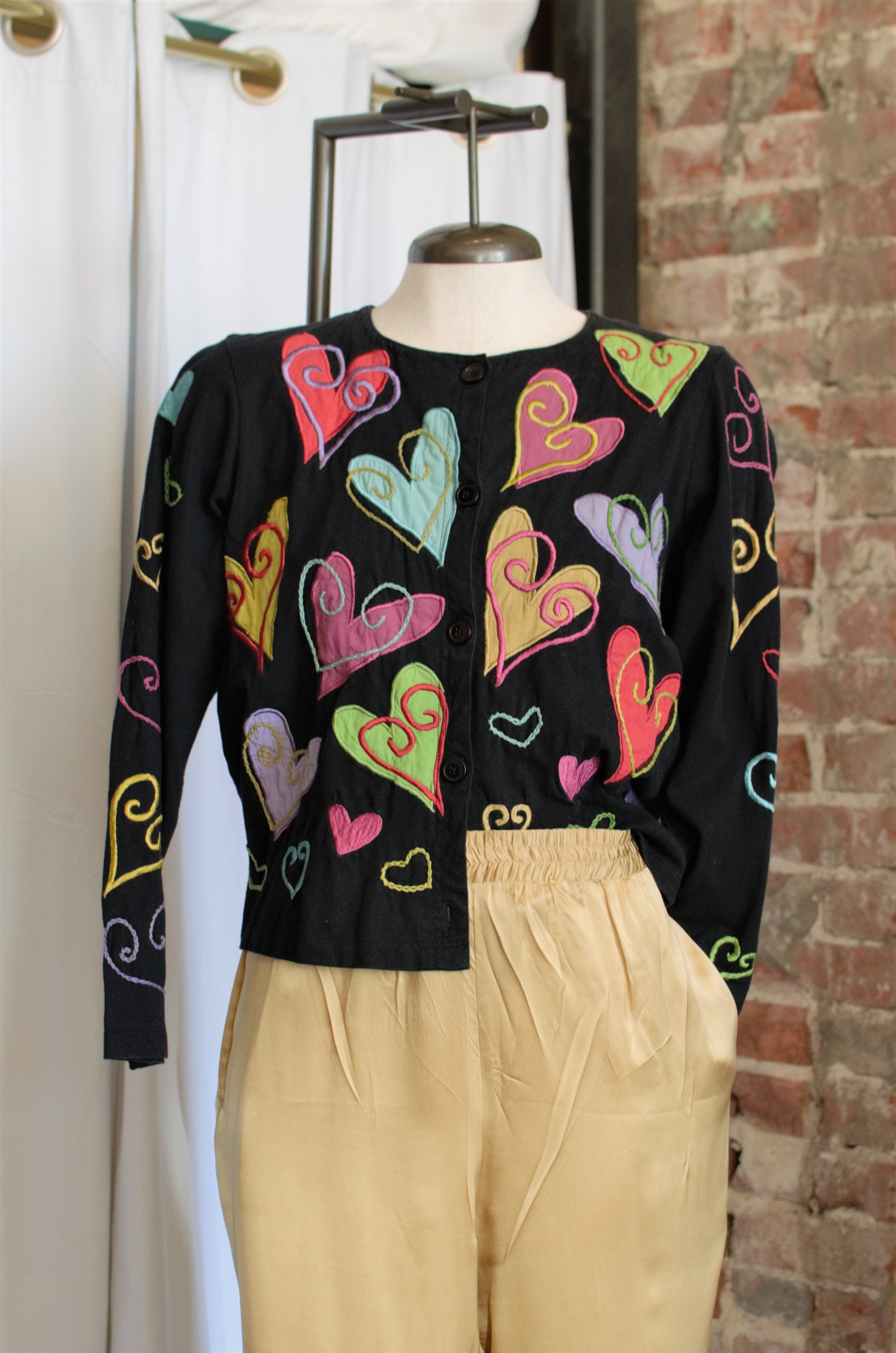 1990s Black Heart Patch Cardigan / Small