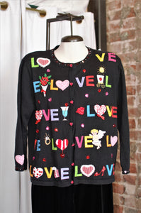 Vintage LOVE Applique Sweater Cardigan / Large