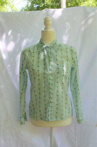 Vintage Girl Scout Button Up Shirt / XS-S