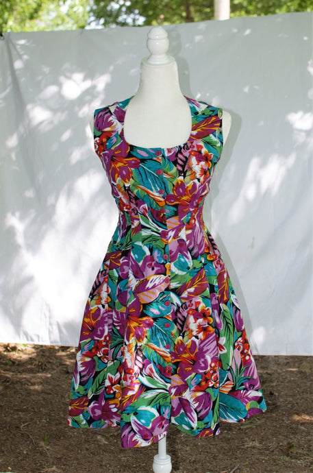 Vintage 80s Tropical Print Dress / XS-S