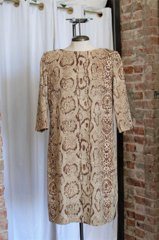 1990s Micro Suede Snake Print Dress / Small