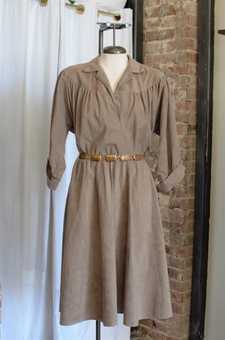1970s Taupe Faux Suede Wrap Dress / Medium - Large