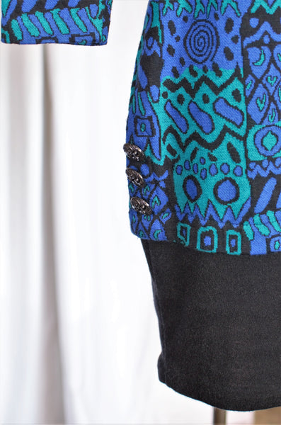 1980s Abstract Print Sweater Dress / XSmall