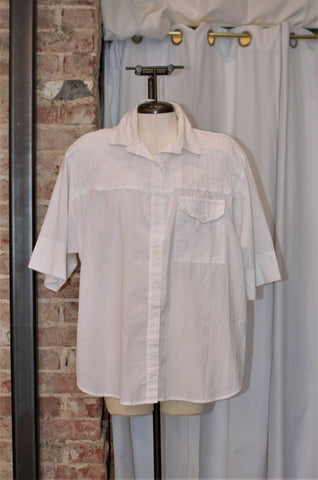 1980s White Eyelet Button Up Top / Large - XLarge