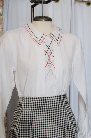 1980s White Rhinestone Embellished Top / Small - Medium