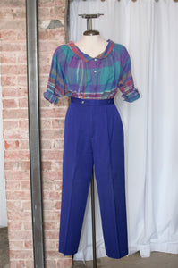 1980s Cobalt Blue Wool Trousers / Waist: 28""