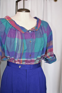 Vintage Purple & Teal Plaid Top / Small - Medium