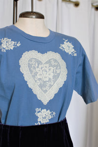Vintage Blue Heart Lace Tee / Small - Medium
