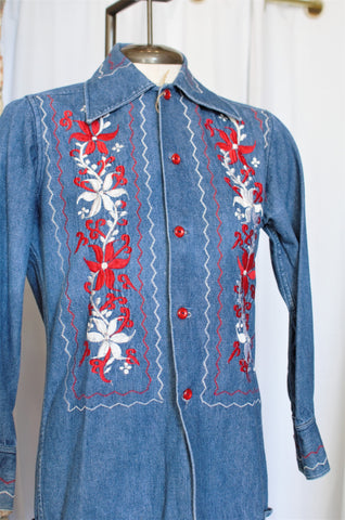 1960s Floral Embroidered Denim Top / XSmall - Small