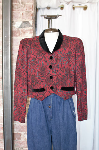 1980s Red Floral Velvet Trim Top / Small - Medium