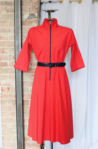 1980s Red Zip Up Swing Dress Dress / Medium - Large