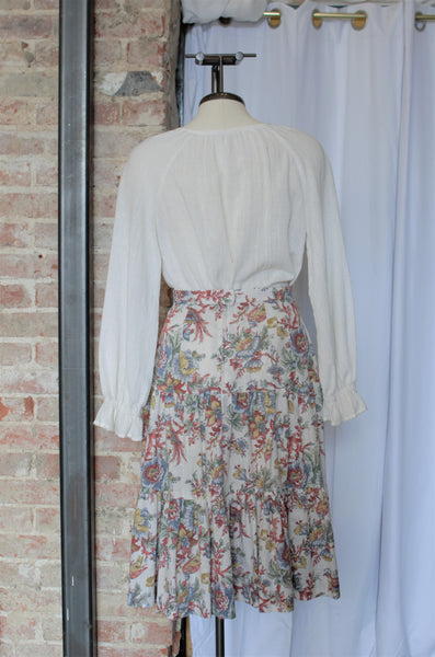 1970s Gauzy Floral 3-Piece Skirt Set / S