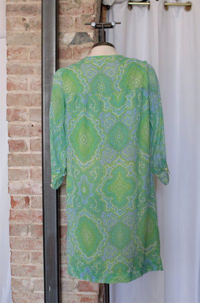 1960s Lime Green & Teal Paisley Shift Dress / XSmall-Small