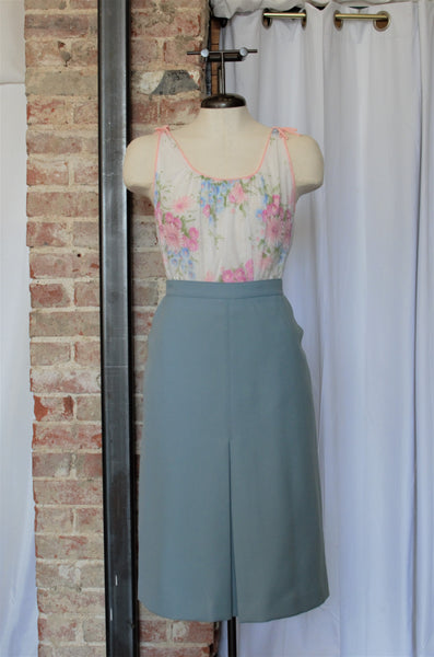 Vintage Light Blue A-Line Skirt / L