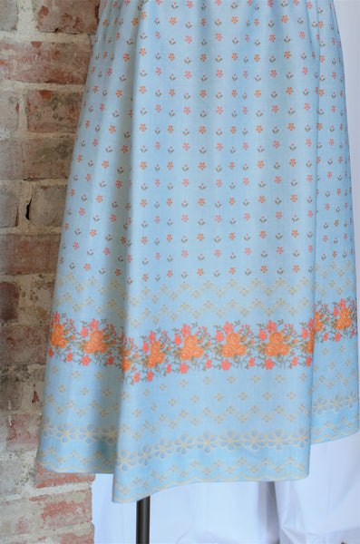 Vintage Light Blue Floral Skirt / Small