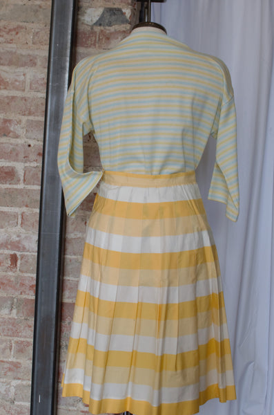 1960s-1970s Blue & Yellow Striped Top / Medium - Large