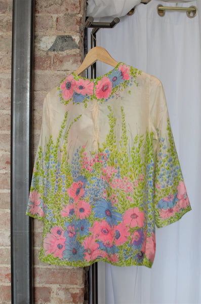 Vintage Floral Silk Blouse / Medium - Large