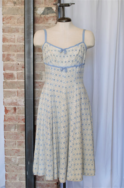 1950s Ivory & Blue Embroidered A-Line Dress / Small