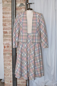 Vintage Pink & Grey Plaid Jacket & Skirt Set / Small
