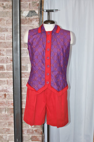 Vintage Purple Polo Player Vest & Shorts Set / XSmall - Small