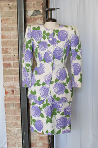 1980s Designer Purple Floral Jacket & Skirt Set / XSmall - Small