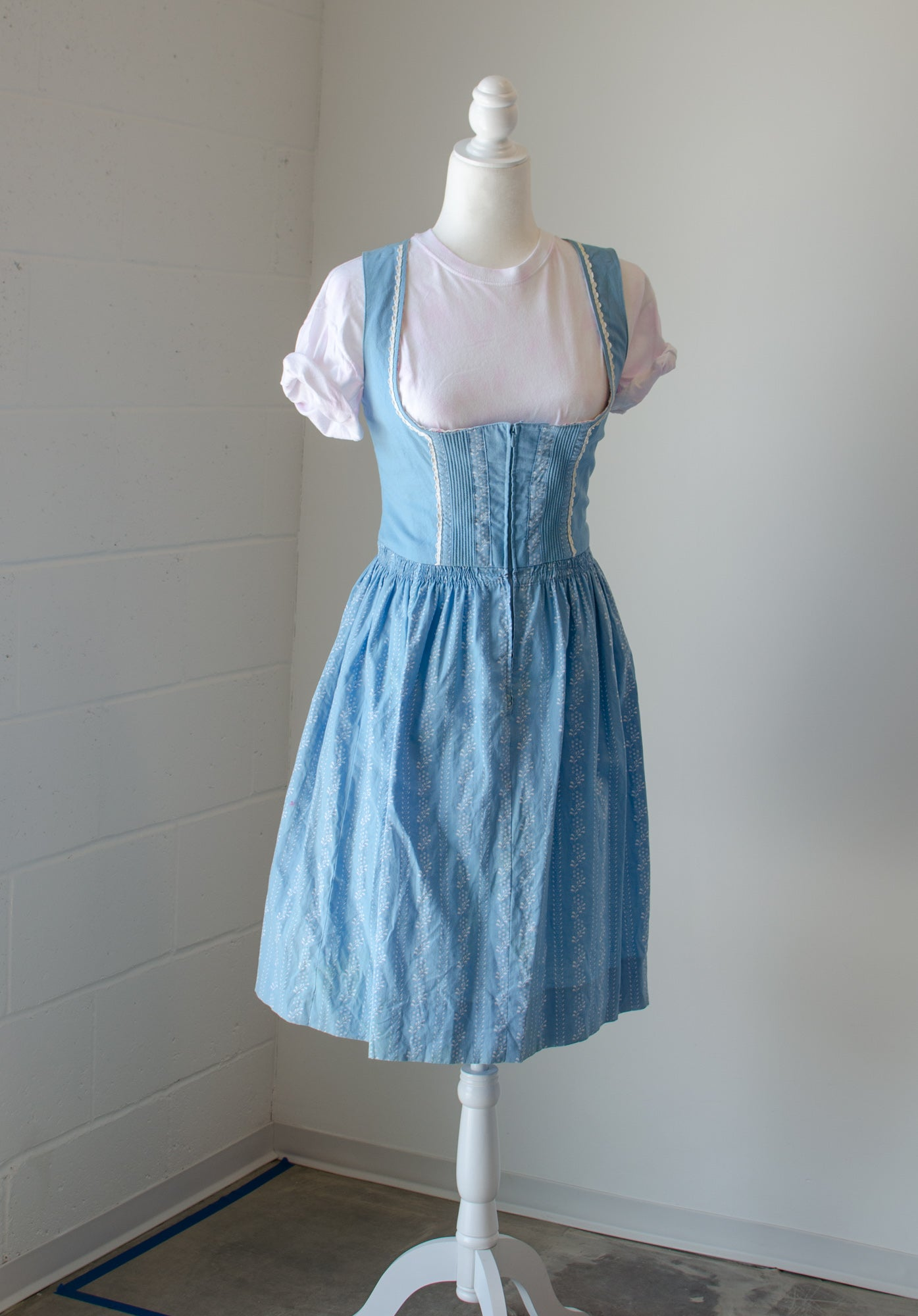Vintage 70s-80s Blue Austrian Drindl Dress / S-M