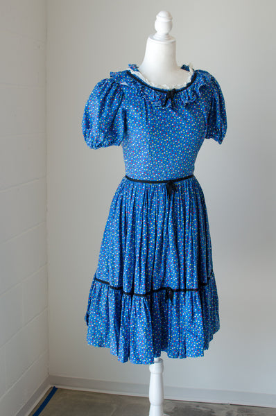 Vintage 50s Blue Tulip Dress / XS-S