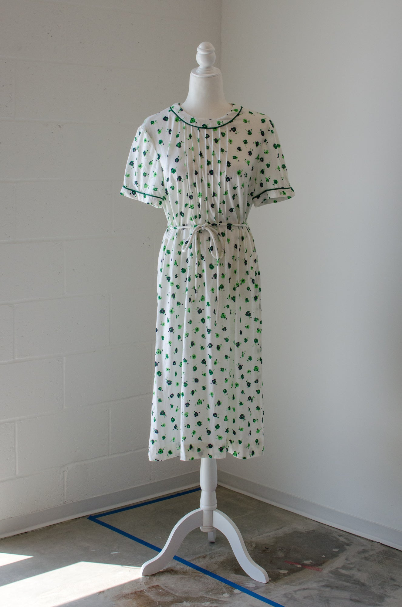 Vintage 50s-60s Green Floral Knit Dress / M-L