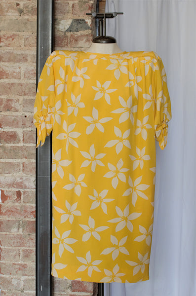 1980s Yellow Floral Shift Dress / Medium - Large