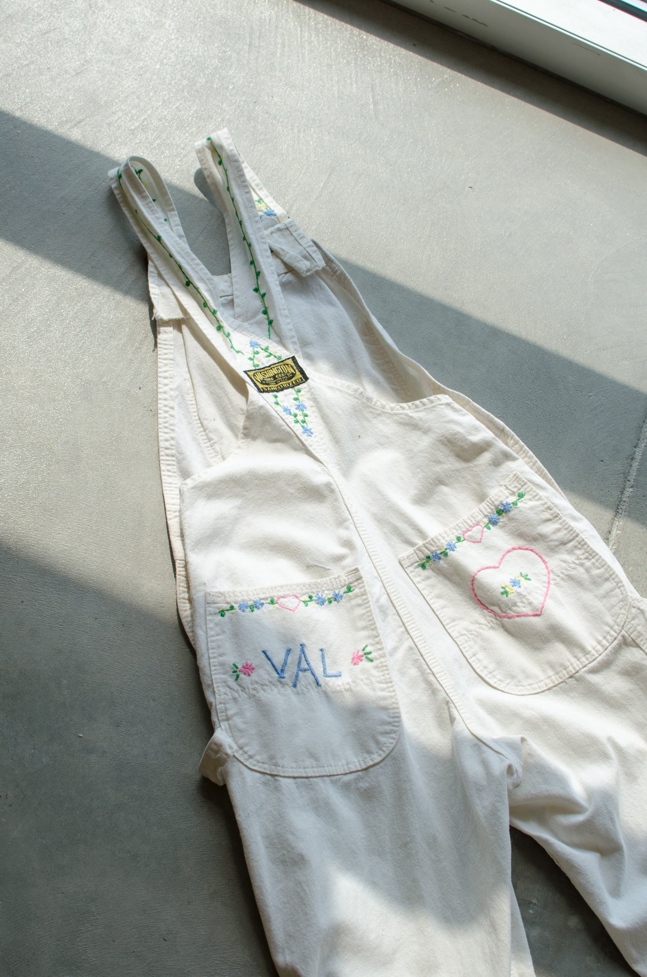 Vintage 60s-70s White Embroidered Denim Overalls / XS-S