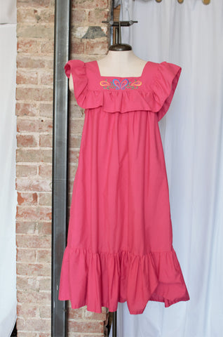 Vintage Bright Pink Summer Dress / Small - Large