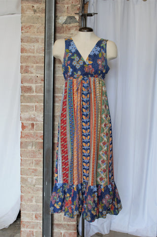 1960s Printed Maxi Dress / Medium - Large