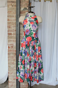 1980s Garden Rose Halter Dress / Small - Medium