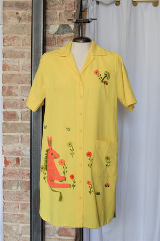 Vintage Yellow Embroidered Shirt Dress / Large