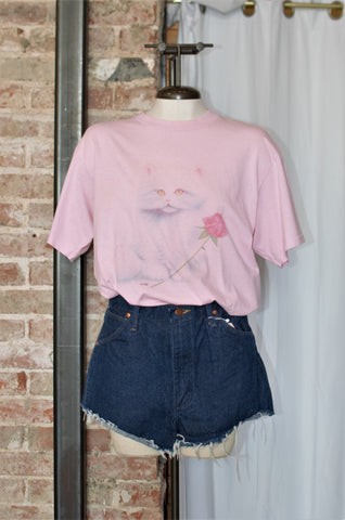 Vintage Pink Kitty Tee / Small - Large