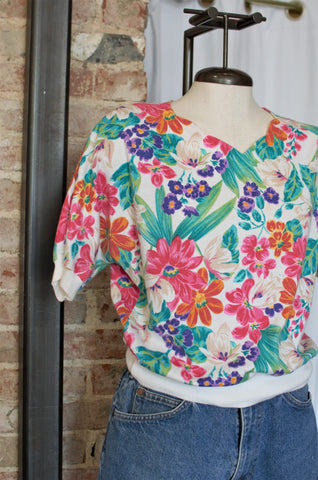 1980s Floral Printed Knit Shirt / Small - Large