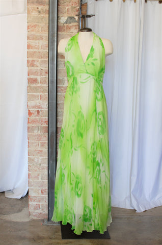 1970s Green Floral Halter Dress / Medium
