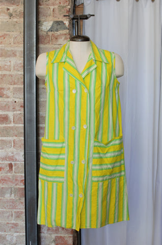 1960s Yellow & Green Striped Apron Dress / Small - Medium