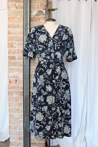 1990s Navy Floral Blouse & Skirt Set / Large