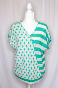Vintage 80s Teal Short Sleeve Sweater / S-M