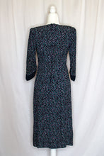 Load image into Gallery viewer, Vintage 80s Blue and Purple Dot Dress / S-M