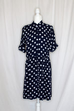 Load image into Gallery viewer, Vintage 90s Navy Polka Dot Romper / M-L