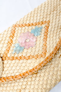 Vintage Straw Envelope Clutch