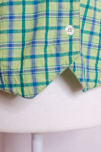 Vintage 80s Green Plaid Shirt / XS-S