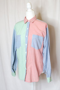 Vintage Multicolor Seersucker Stripe Shirt / S-L