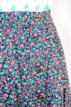 Load image into Gallery viewer, Vintage Navy Floral Midi Skirt / S- M